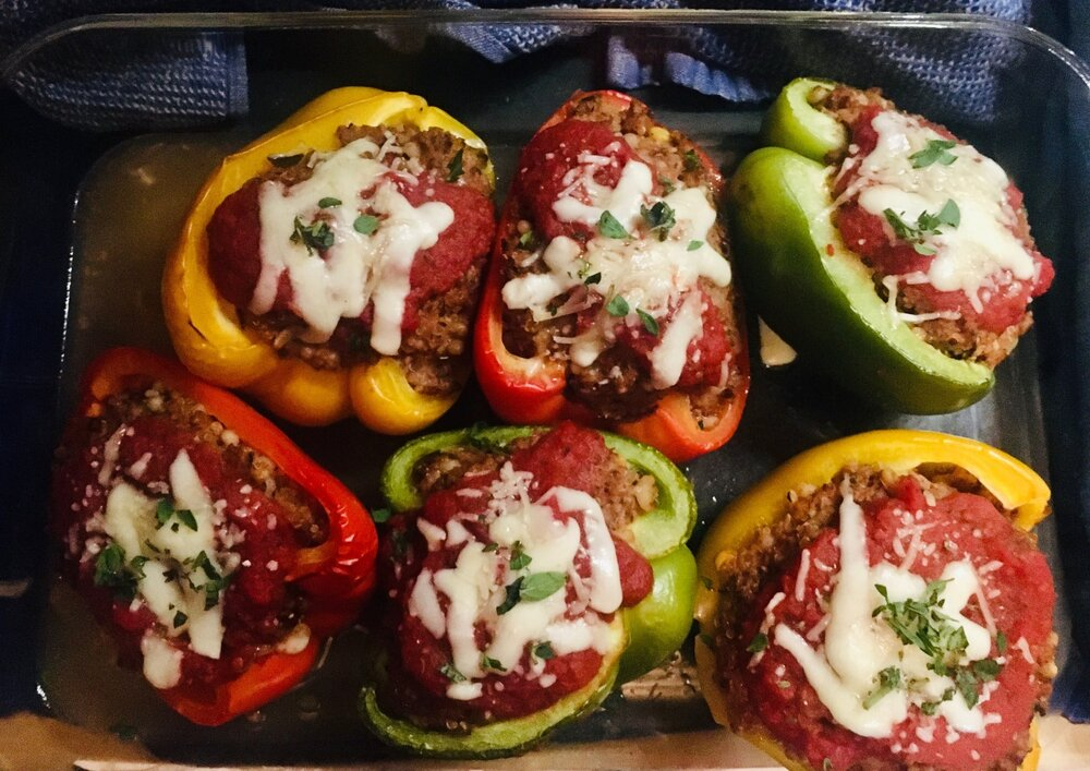 Mix up the red, green and yellow bell peppers, and add as much cheese to melt on top as you like.